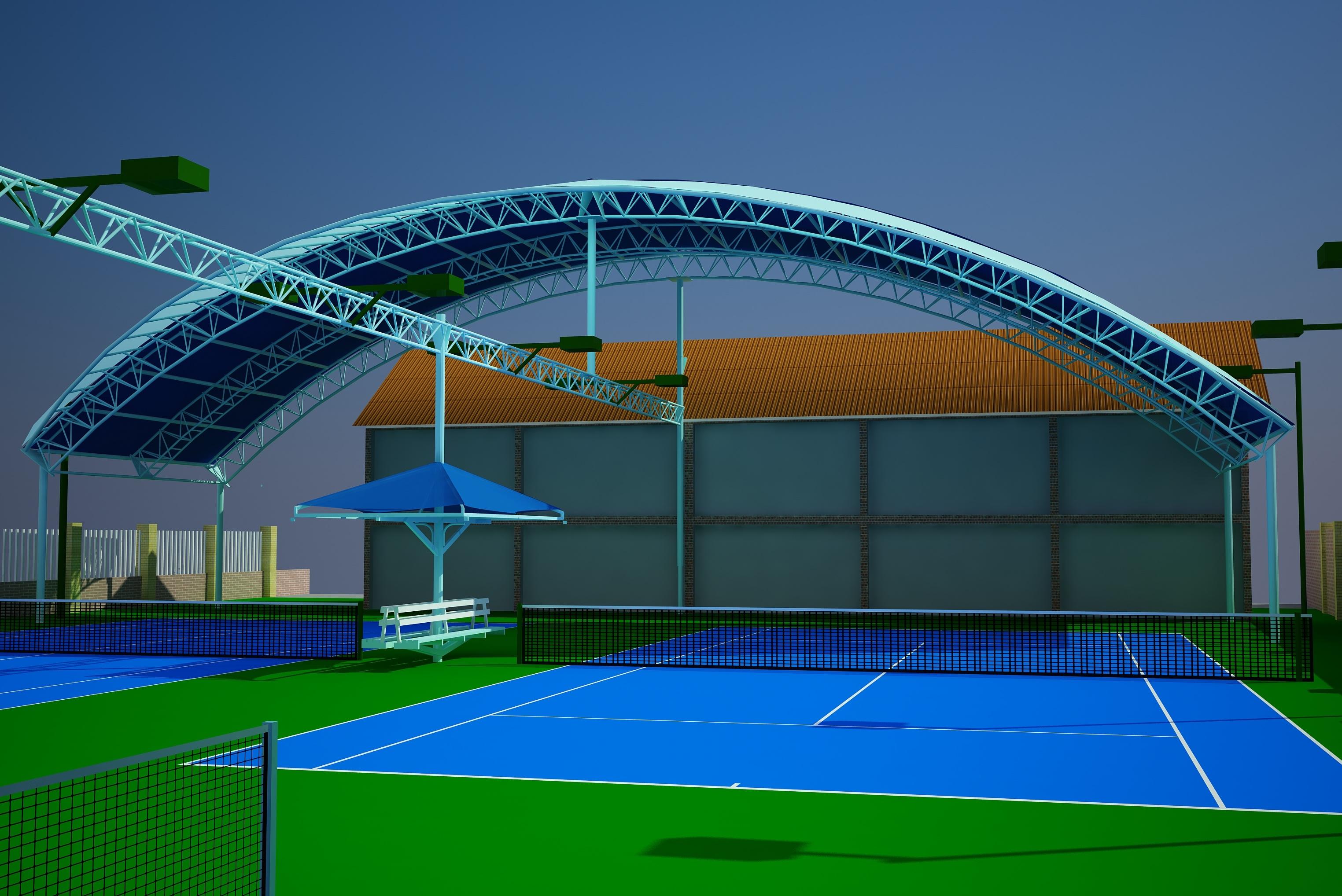 mái che sân tennis - thi công mái che sân tennis - MÁI XẾP